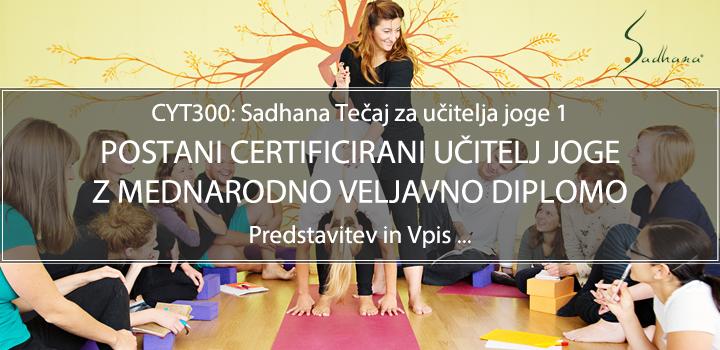 Tečaj za učitelja joge (CYT300, mednarodno priznana diploma)