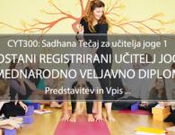 Tečaj za učitelja joge (CYT300, RYS200, mednarodno priznana diploma), pričetek: 28.11.2020